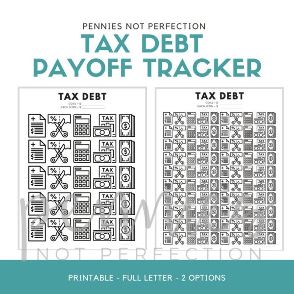 Tax Debt Payoff Tracker | IRS Tax Debt Tracker Printable PDF - Pennies Not Perfection