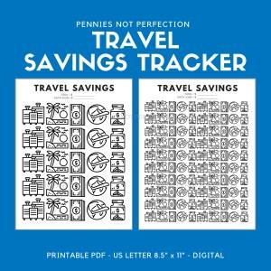 Travel Savings Goal Tracker | Travel Fund Savings Tracker Printable PDF