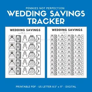 Wedding Savings Goal Tracker | Wedding Fund Savings Tracker Printable