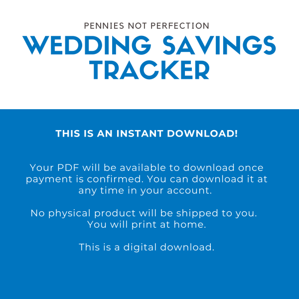 Wedding Savings Goal Tracker   Wedding Fund Savings Tracker Printable