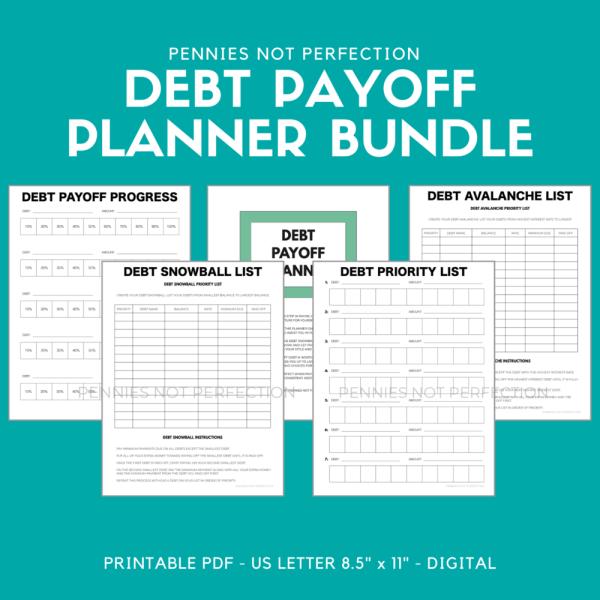 Debt Payoff Planner, Debt Tracker Printable, Payoff Bundle, Debt Snowball, Debt Avalanche, Debt Free Charts Planner PDF Printable Inserts Active