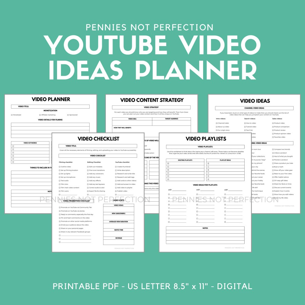 YouTube Video Ideas Planner | Video Series Planner & Checklist Printable | Video Content Ideas Planner 10