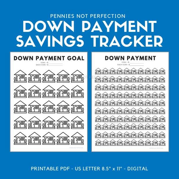 Down Payment Savings Tracker | House Down Payment Savings Printable