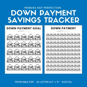 Down Payment Savings Tracker | House Down Payment Savings Printable
