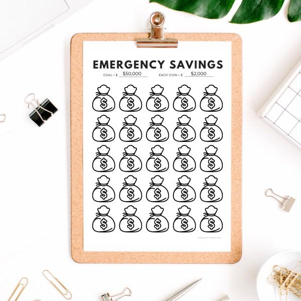 Emergency Fund Savings Tracker | Savings Tracker Printable