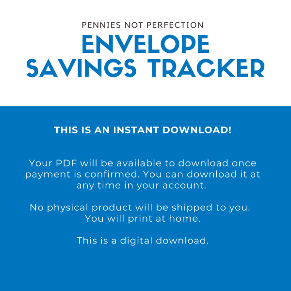 Envelope Savings Tracker Printable   Envelope Sinking Funds Tracker Chart   Save Money Printable Or Digital 1