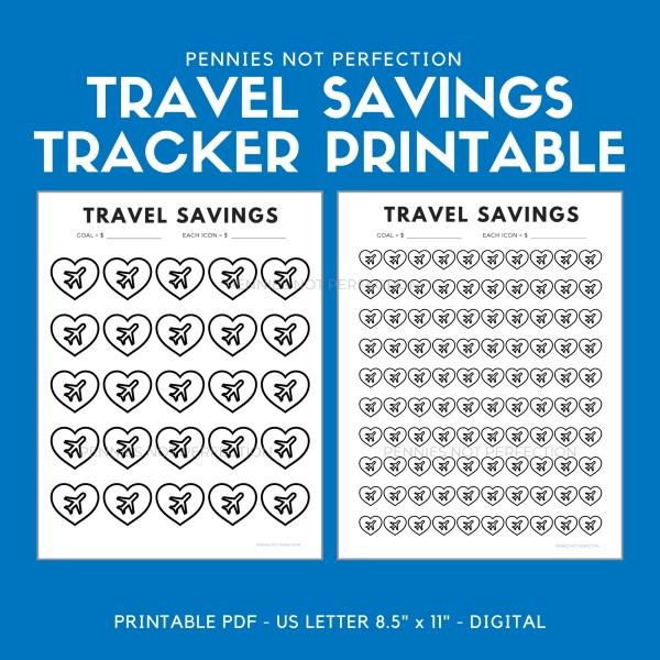 Travel Savings Goal Tracker Travel Fund Savings Tracker Printable PDF 1