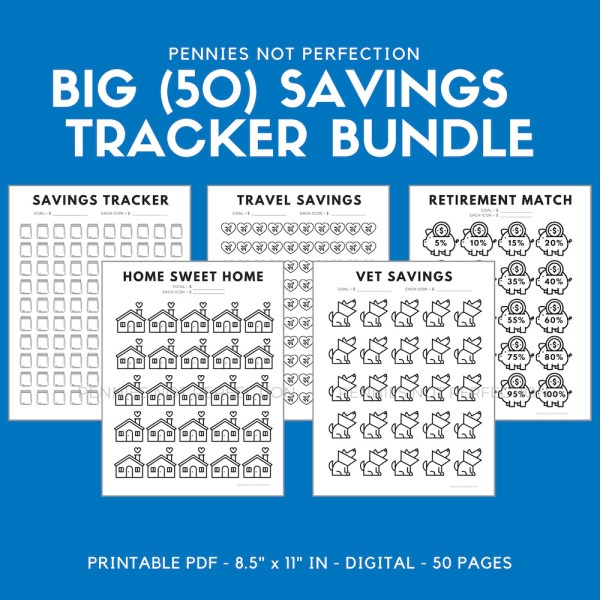 Saving Tracker Bundle, Savings Tracker Coloring Sheets, Savings Tracker Printable Bundle, Money Tracker 3