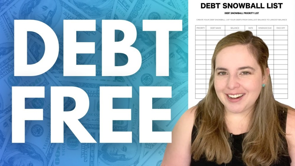 im debt free text with an image of my debt snowball printable