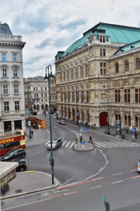 State Opera House and road view from Terrace of Albertina, Vienna, Austria