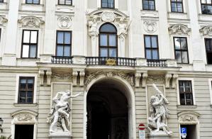 Sculptures on road in Hofburg, Vienna, Austria