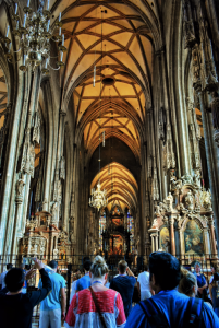 Inside the St. Stephen's Cathedral in Vienna, Austria