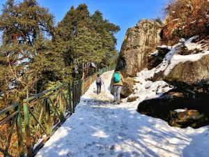 Bars to hold while hiking to Tunganath temple in Chopta, Uttrakhand