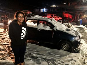 Vehicles stuck in snow after a snow fall in Chopta, Uttrakhand