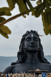 Adiyogi statue from a distance at Isha Yoga Center in Coimbatore