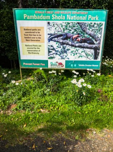 Pampadum Shola National Park Sign Board