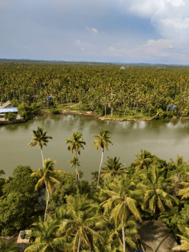 View of the backwaters from top of Anjengo lighthouse