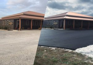 Asphalt Commercial Parking Lot Before & After | Penninger Asphalt Paving, Inc