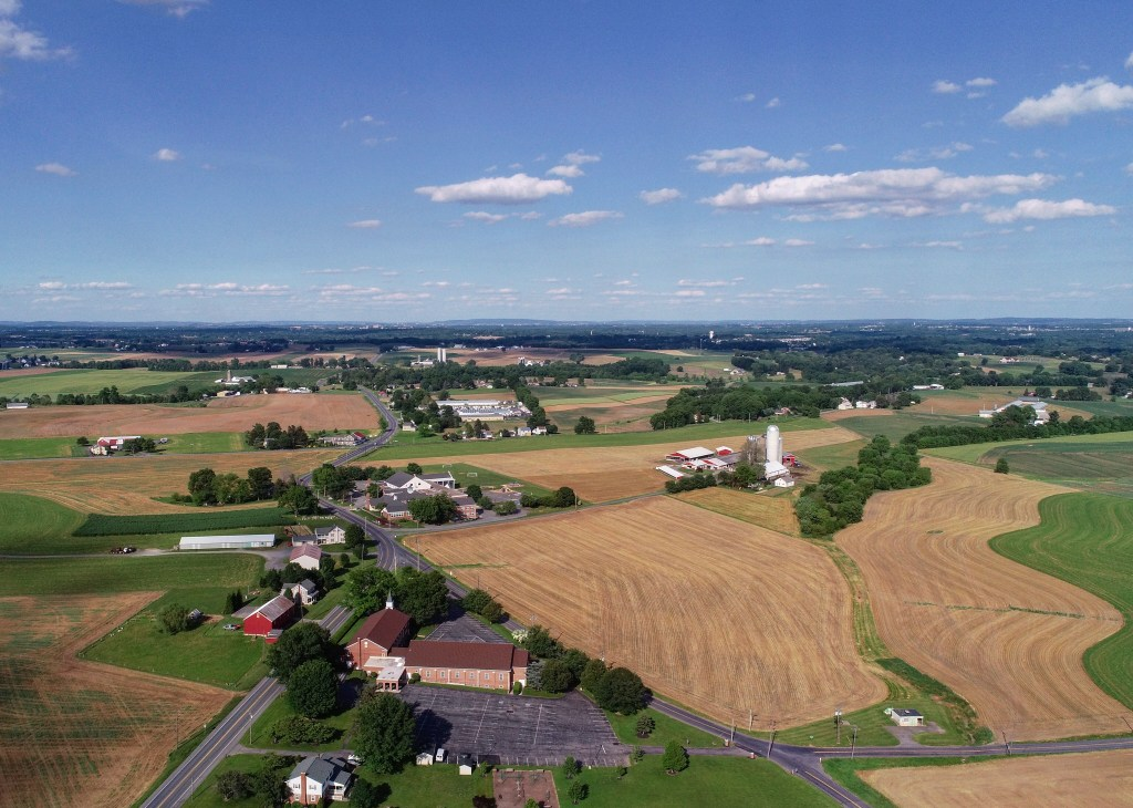 Farm field image from drone camera