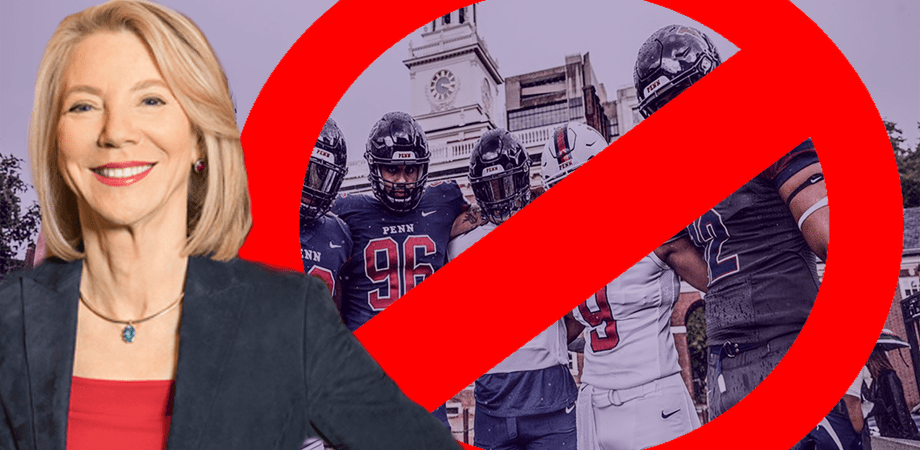 Gutmann stands in front of the Penn Football team. Between Gutmann (left) and the football team is a large, red NO sign. There is a bluish tint over the football players.