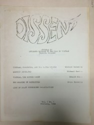 Dissent: Journal of Student Opposed to the War in Vietnam, Yeshiva University, vol. 1, no. 1, 1968