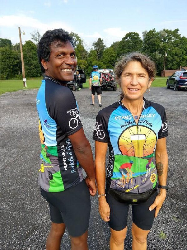 Penns Valley Pedals and Pints Riders wearing official Jerseys