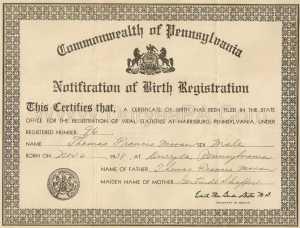 Sample PA 1938 Birth Certificate