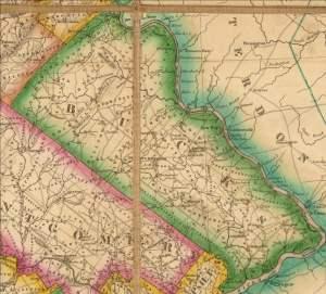 1826 Melish Map Bucks County Pennsylvania FM