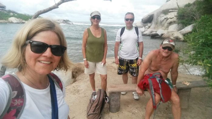After a long hike through Tayrona National Park, Colombia we now need to drag ourselves back to the bus. Heidi, Penny, Steve and Larry.