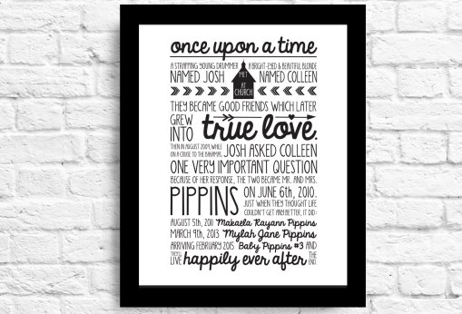 Customizable Anniversary Gift - Custom Love Story- Children's Names- Wedding Date- Proposal- Important Date- Personalized Anniversary Gift