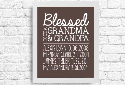 Personalized Grandma, Mimi, Nana, Poppy, Grandpa, Papa, Quote - Wall Art - Customizable Fathers Day Gift- Grandchildren's Names