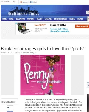 Baltimore Times Feature http://baltimoretimes-online.com/news/2014/feb/07/book-encourages-girls-love-their-puffs/