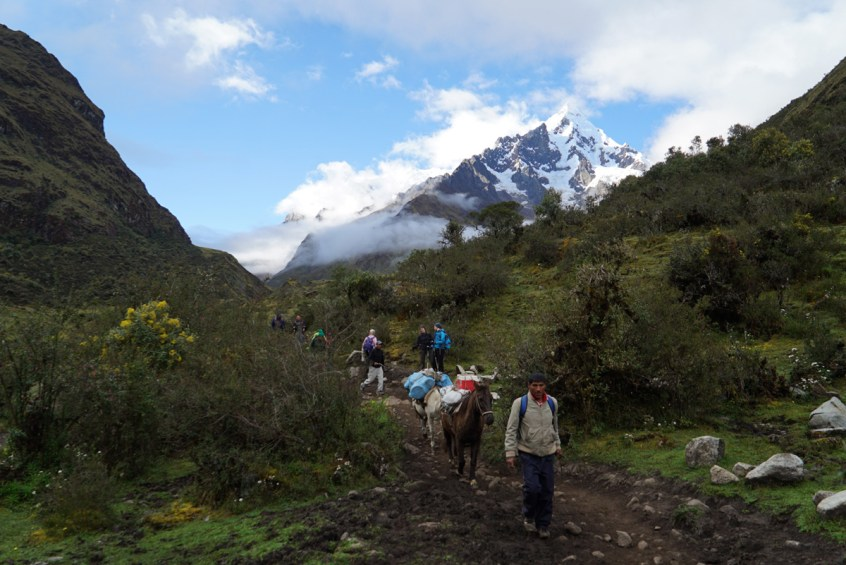 Our amazing porters passing us on the trail.