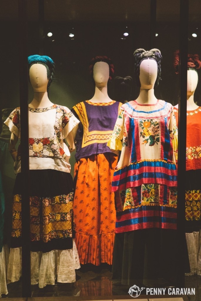 A collection of Frida's clothing. Many of these make appearances in her self-portraits.