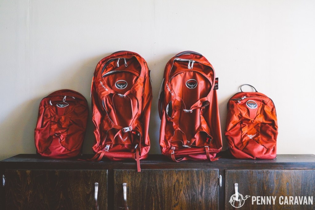 The Osprey Farpoint 55 (left) and the Farpoint 70 (right) with their daypacks. Empty, it's difficult to spot any difference in size between them.