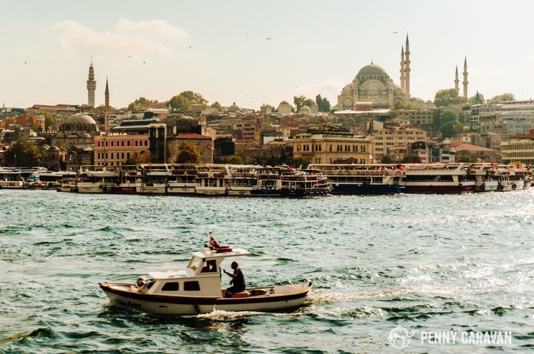 View of the city from the Bosphorus.
