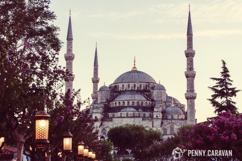 The Blue Mosque at dusk. The path between it and the Hagia Sophia is lined with lanterns, flowers, and snack vendors!
