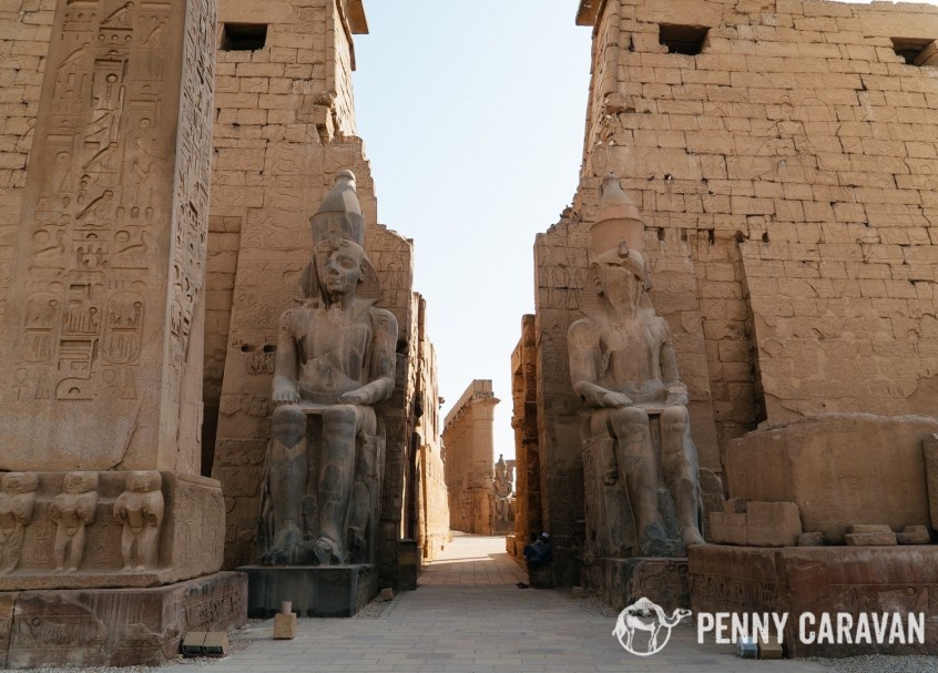 The pylon of Ramses II. The matching obelisk that used to stand on the right is now in Paris.