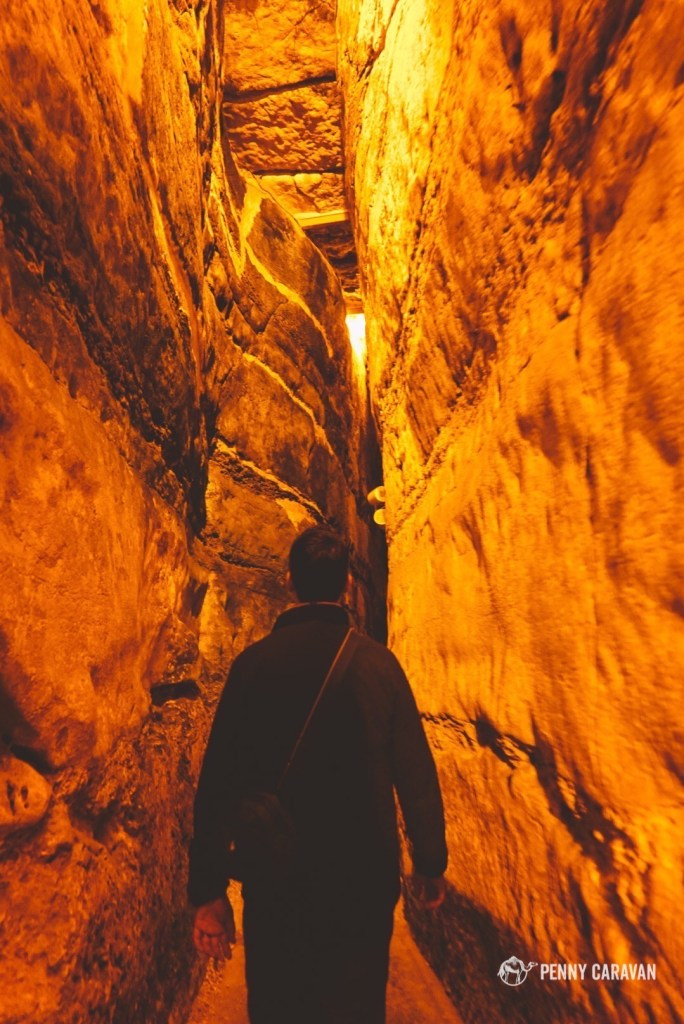 Walking through the Kotel tunnels.