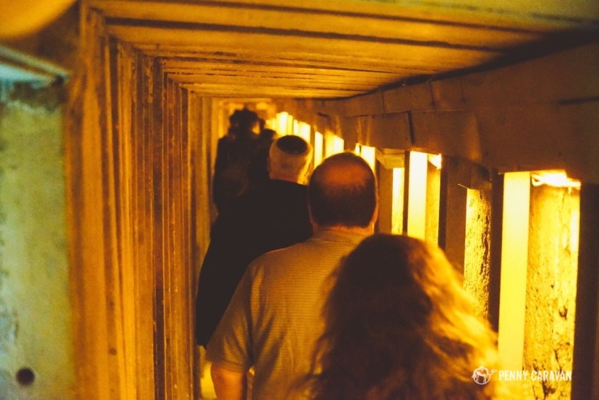 Walking through the tunnels.