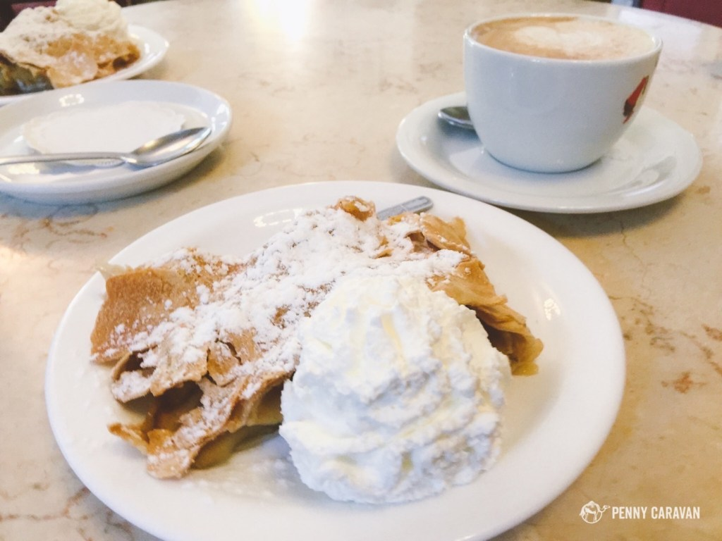 The apple strudel at the Austrian Hospice on the Via Dolorosa.