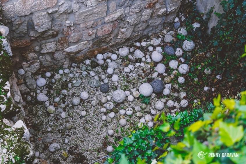 Catapult stones.