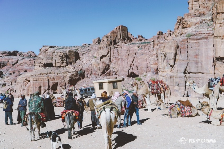 You'll soon reach Petra city, with plenty of cafes serving tea and snacks, and men offering donkey rides to get to the monastery.