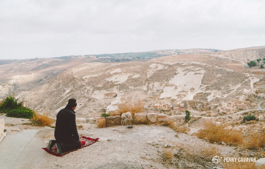 A Man Praying High Above The Town At Shobak Castle