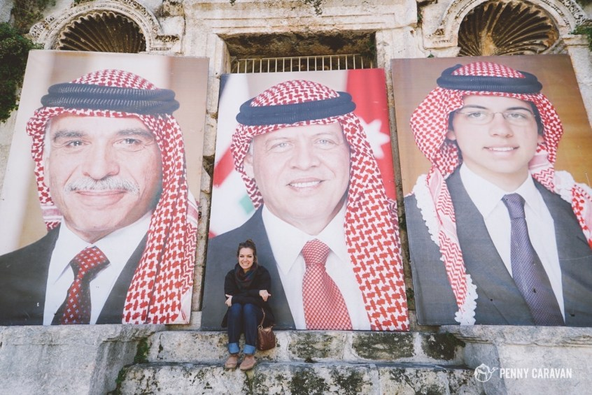 King Hussein, King Abdullah, the Crown Prince, and me. At the top of the Roman Theatre in Amman.