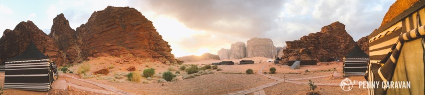 Panorama of the camp. The buildings just past the solar panel are the bathrooms.