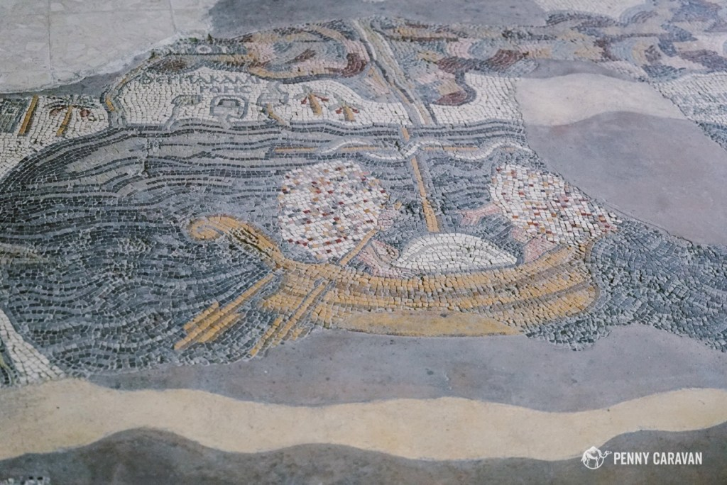 The sea of Galilee represented on the mosaic map.