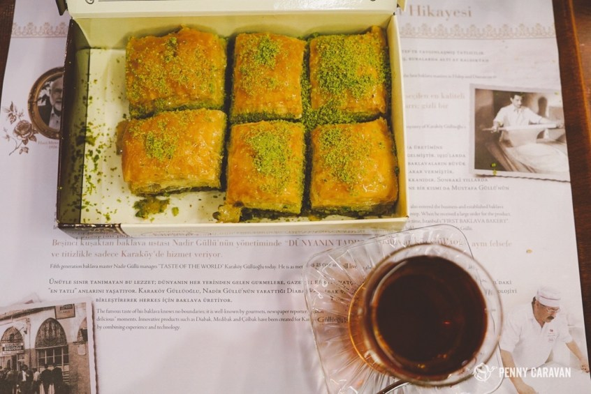 Baklava with pistachios, served with tea of course.