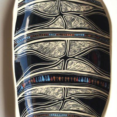 #688 Five Butterflies long ceramic Platter