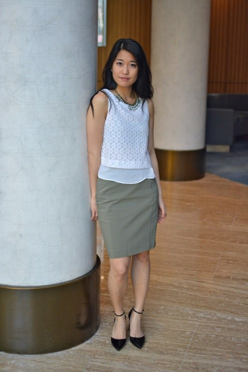 Business Casual: white and olive with black patent d'orsay